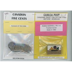 Package of 10 Seldom Seen 5¢ and Canada Post Collector Pins