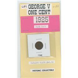 1925 One Cent - Fine - Catalog $ $40.00