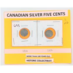 Siver Five Cents 1891 and 1914