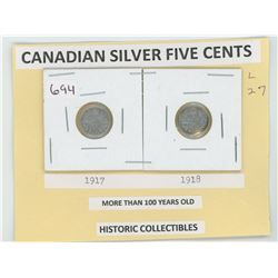 Silver Five Cents 1917 and 1919