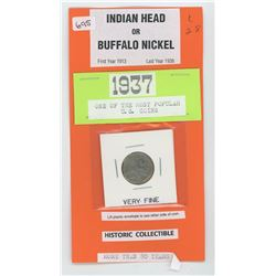 1928 U.S. Indian Head- Buffalo 5¢ Very Fine
