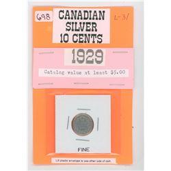 1929 Silver Ten Cent Fine