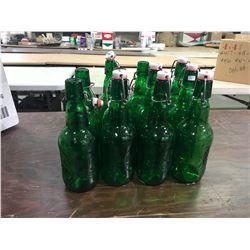 "10-Green Beer Bottles ""Grolsch"""