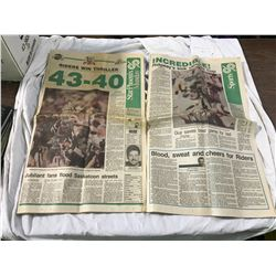 Star-Phoenix newspaper Nov. 27, 1989. The first win for the Roughriders after 23 years. Best grey cu