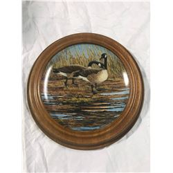 """(2) Canada Geese Picture, 11"""" diameter. Limited edition of """"courtship"""" by Donald penz 1986 bradex no"""
