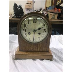 """Junghans B13 Mantle Clock, Wooden, Crack In Rear Door, Key And Pendulum Inside About 8"""" Across and 5"""