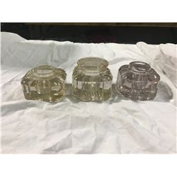 3 glass ink wells 1 with cover + 1 no cover and Chipped