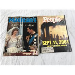 """Peoples Weekly, Sept 11 2001 + MacLean's Aug 10. 1981 """"A Fairy-tale Wedding"""" (Charles + Diana)"""