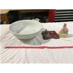 Large white chamber basin, small chip. Parts For Childs Toy + Music Box Parts (Broken Arm) + Etc.