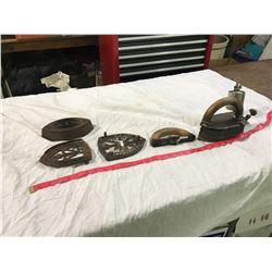 2 iron trivets + 1 kerosene iron + 1 iron and handle
