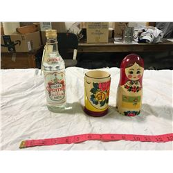 wooden Russian Doll With Gronoff Vodka Inside