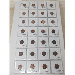 38 American 1 cent coins, 1972-1997