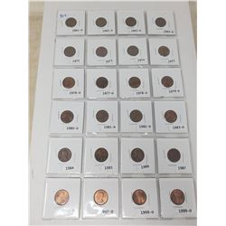 24 American 1 cent 1961-1999 (some dates missing in between)