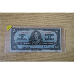 1937 $5 King George Bank Note - Gordon Towers