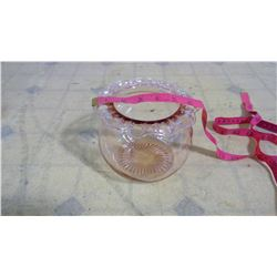 OLD CLEAR PINK BOWL + ITEMS IN BOX