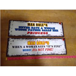 Two  Man Rules Tin Signs