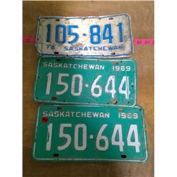 Three Sask License Plates