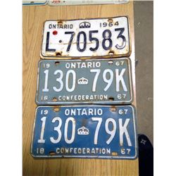 Three Ontario License Plates
