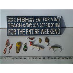 Wood Fishing Sign and Fishing Hooks