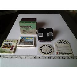 Backlite Viewmaster Stereoscope with slides, also empty cases