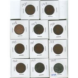 Canadian large cent 1910-1920 various grades lot of 11