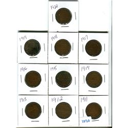 Canadian large cent 1911-1920 various grades lot of 10