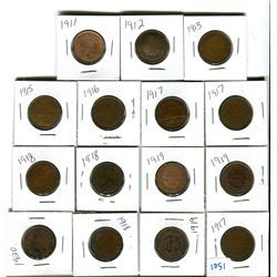 Canadian large cent various dates & grades lot of 15