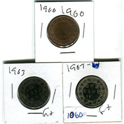 Canadian large cents 1900H, 1903, 1907 various grades
