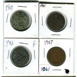 Canadian large cents 1901, 1903, 1907, 1909 various grades