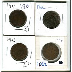 Canadian large cents 1901, 1902, 1902, 1906, 1908