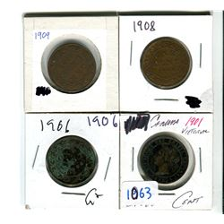 Canadian large cents 1901, 1906, 1908, 1909