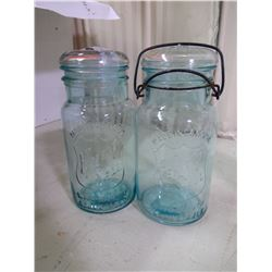 2 PERFECT SEAL MADE IN CANADA WIDE MOUTH ADJUSTABLE JARS