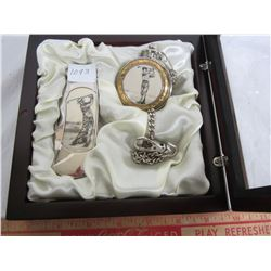 Knife and Pocket Watch with Golfer on them Cased