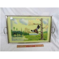 Vintage Tea Tray with Birds on it