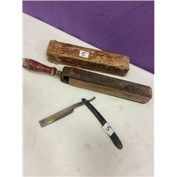 Straight Razor and Sharpening Strop - King Cutter