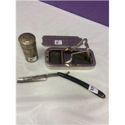 Straight Razor, Shaving Tin & Shaver Sharpener Kit