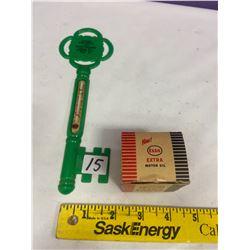 Esso Plastic Thermometer & Esso Matches in original box