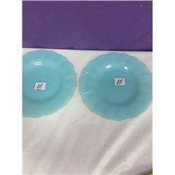 """2 Pyrex - Delphite Blue 7"""" Plates"""