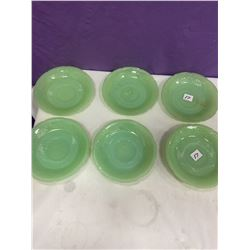 "6 Jade-Ite Plates - 6"" - 3 are marked Fire King"