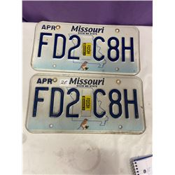 Pair Missouri Licence Plates