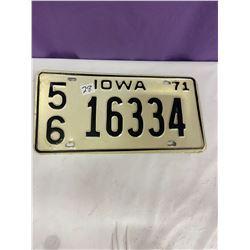 Iowa Licence Plate