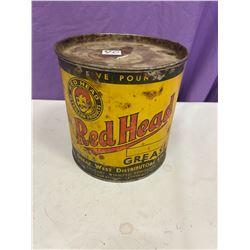 Red Head Grease Tin - 5lb - Rare Tin
