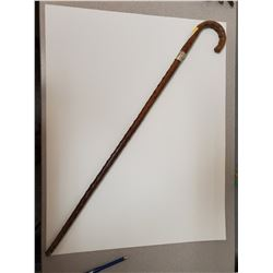 "34"" Hand made wooden cane with hallmarked sterling silver"