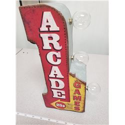 Working battery operated lite-up arcade games sign