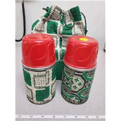 2 matching Thermos' with carrying bag, No.3 1/2 pint
