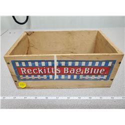 "1930 'reckitts bag blue' wooden box Montreal 4"" X 5.5"" X 9.5"""