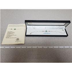 Sterling silver 5.4 x 3mm genuine .45 ct emerald & 12 cz bracelet appraised $700(appraisal included)