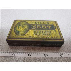 """Tobacco tin """"J.G. Dill's Best Sliced Cut Plug"""" Richmond, VA USA"""