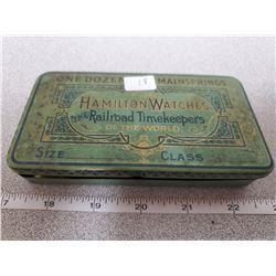 "3"" x 5.5"" original tin box for 1 doz. Main springs Hamilton watches"