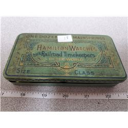 3  x 5.5  original tin box for 1 doz. Main springs Hamilton watches